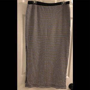 GAP Black Striped Midi Skirt-SZ MED